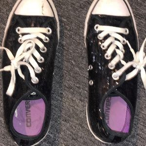 Black Glitter Allstar Converse shoes